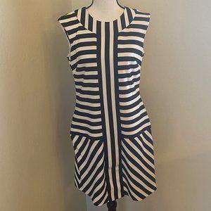 Taylor Navy & White Stripe Sheath Dress Size 8